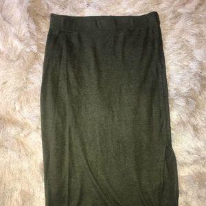 Dresses & Skirts - Olive green midi skirt with slit